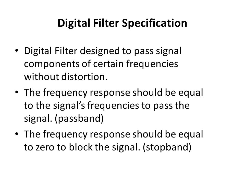Digital Filter Specification