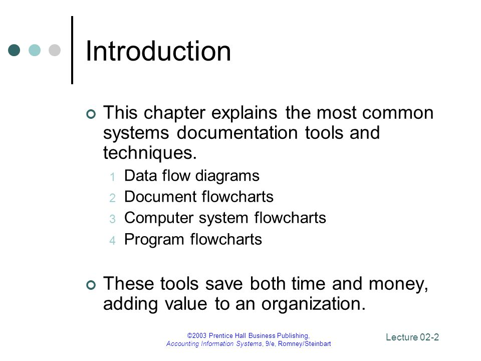 Introduction This chapter explains the most common systems documentation tools and techniques. Data flow diagrams.