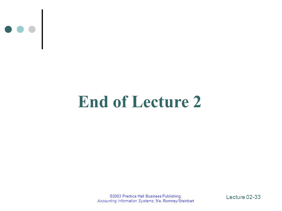 End of Lecture 2 ©2003 Prentice Hall Business Publishing,