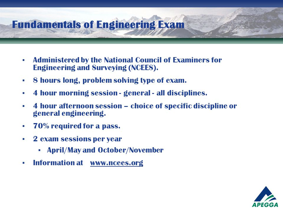 Fundamentals of Engineering Exam