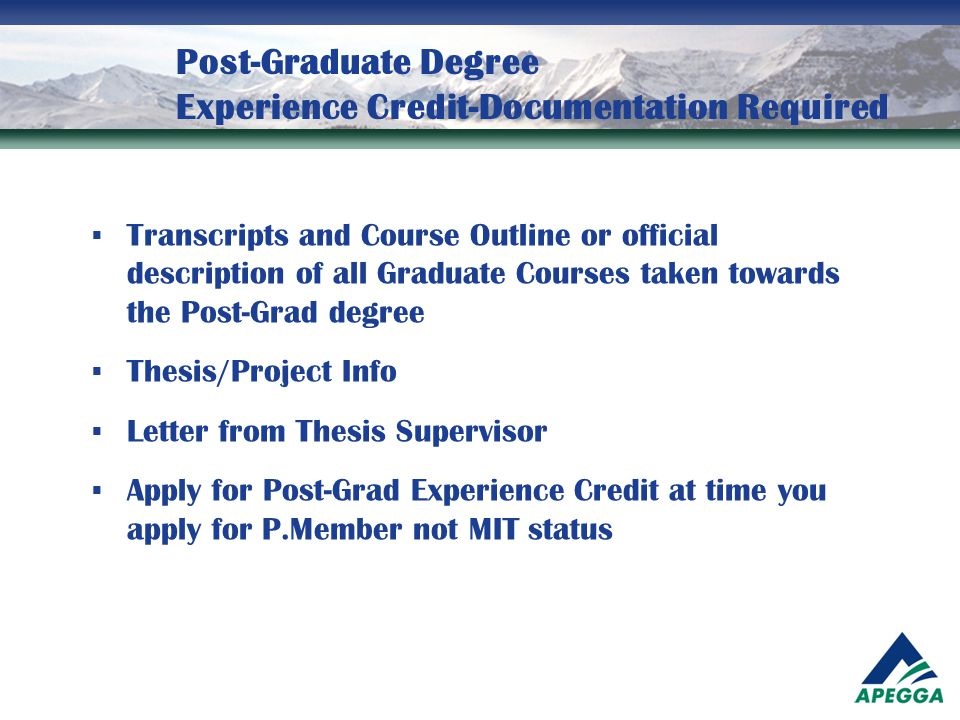 Post-Graduate Degree Experience Credit-Documentation Required