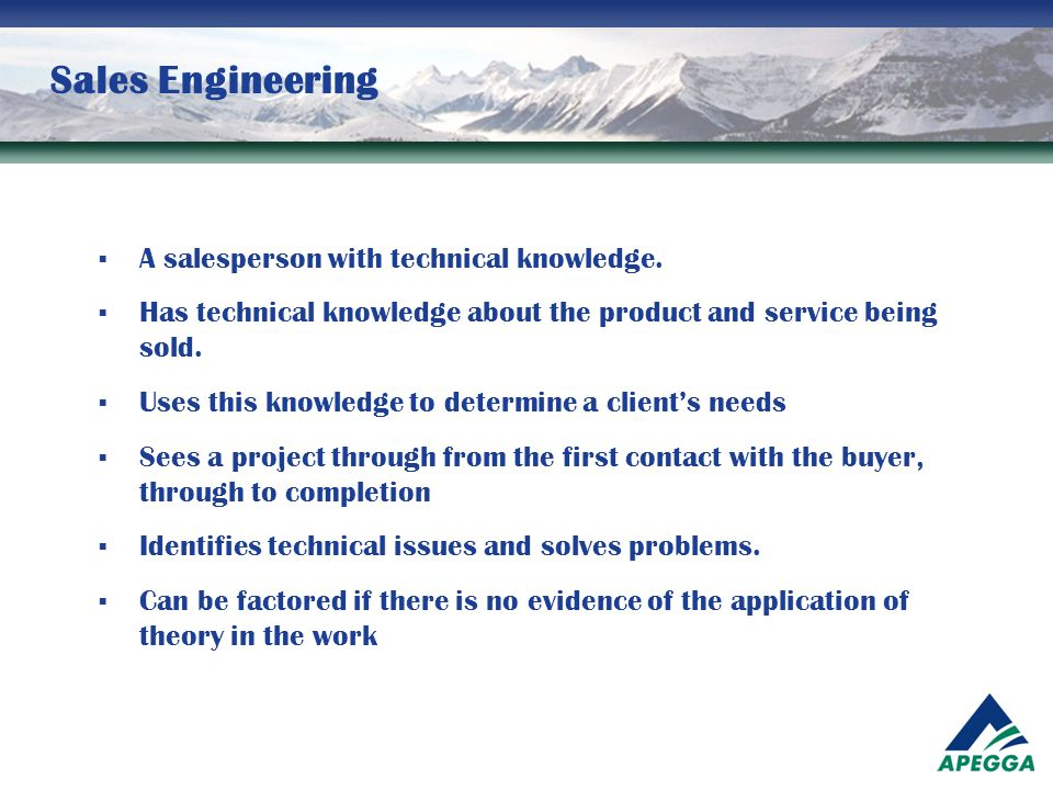 Sales Engineering A salesperson with technical knowledge.