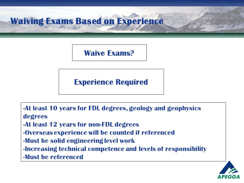 Waiving Exams Based on Experience