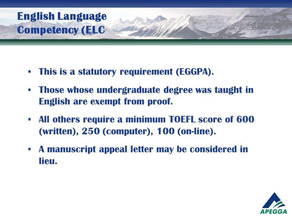 English Language Competency (ELC