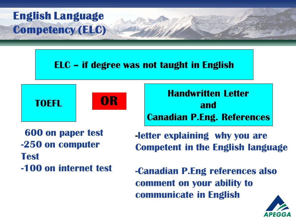 English Language Competency (ELC)