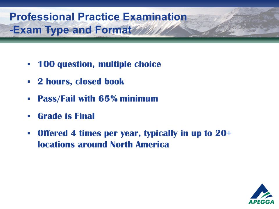 Professional Practice Examination -Exam Type and Format