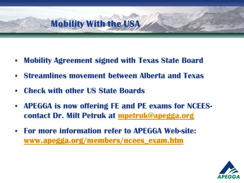 Mobility With the USA Mobility Agreement signed with Texas State Board