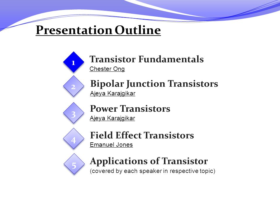 Presentation Outline Transistor Fundamentals