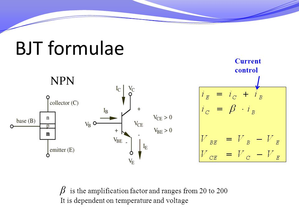 BJT formulae Current control. NPN. Suggestion: state the qualitative definition behind these equations: when ib =0, when ib !=0, etc, what happens