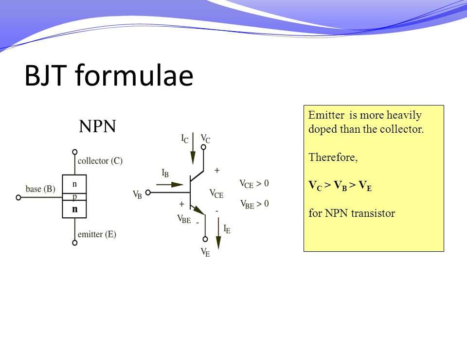 BJT formulae NPN Emitter is more heavily doped than the collector.