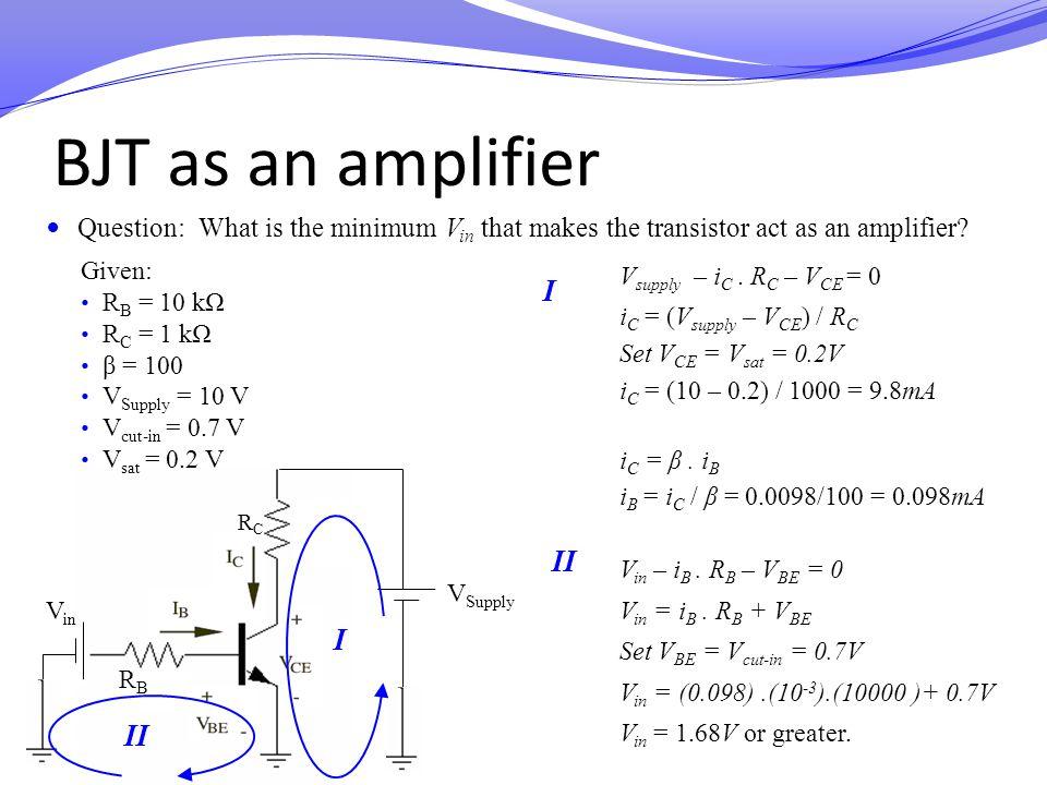 BJT as an amplifier I II I II