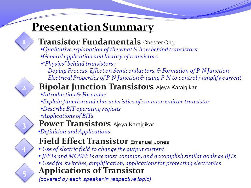 Presentation Summary Transistor Fundamentals Chester Ong
