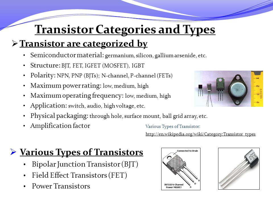 Transistor Categories and Types