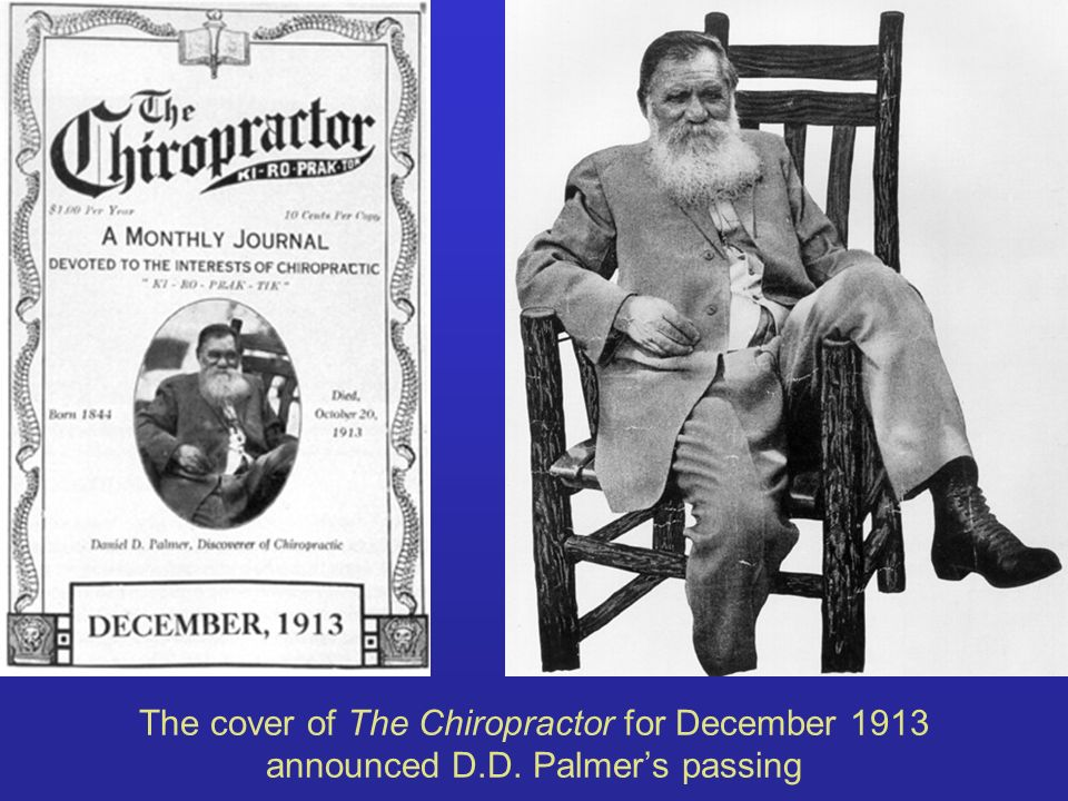 The cover of The Chiropractor for December 1913 announced D. D