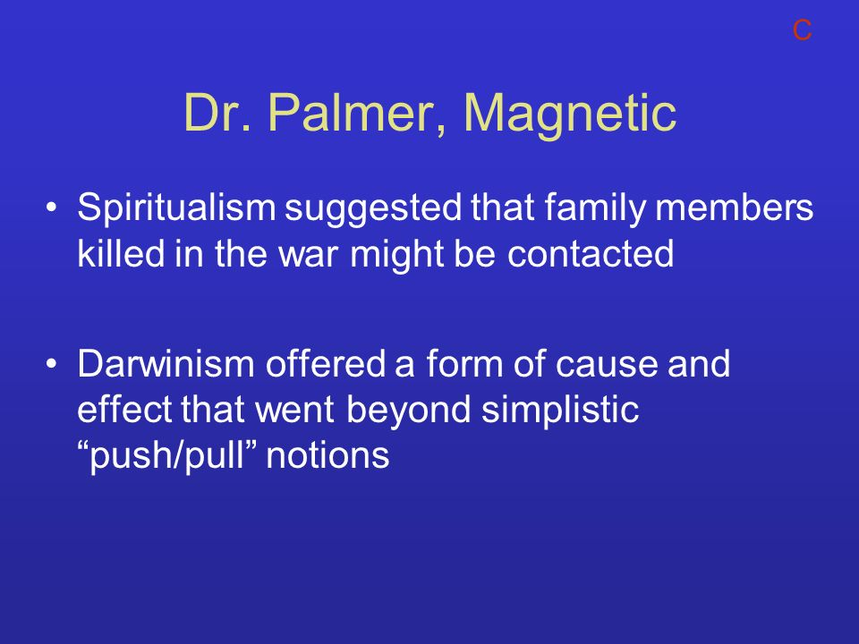 C Dr. Palmer, Magnetic. Spiritualism suggested that family members killed in the war might be contacted.
