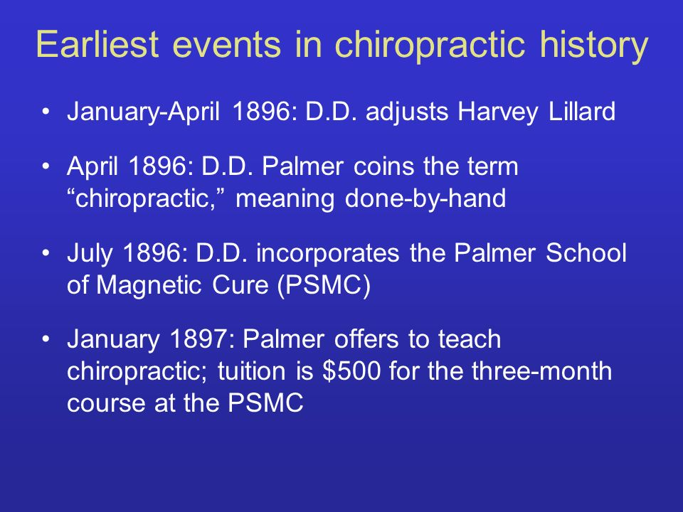 Earliest events in chiropractic history