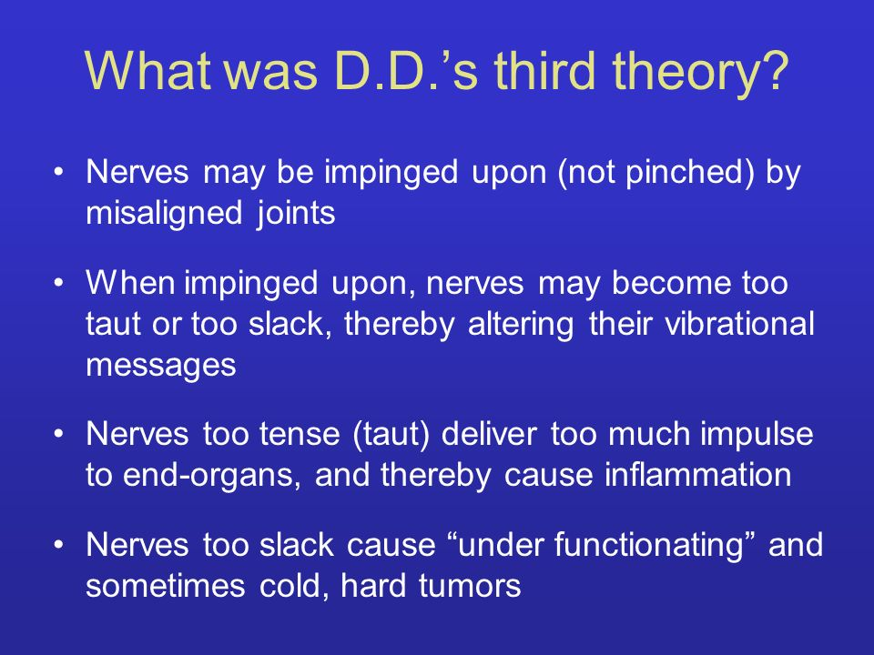 What was D.D.'s third theory