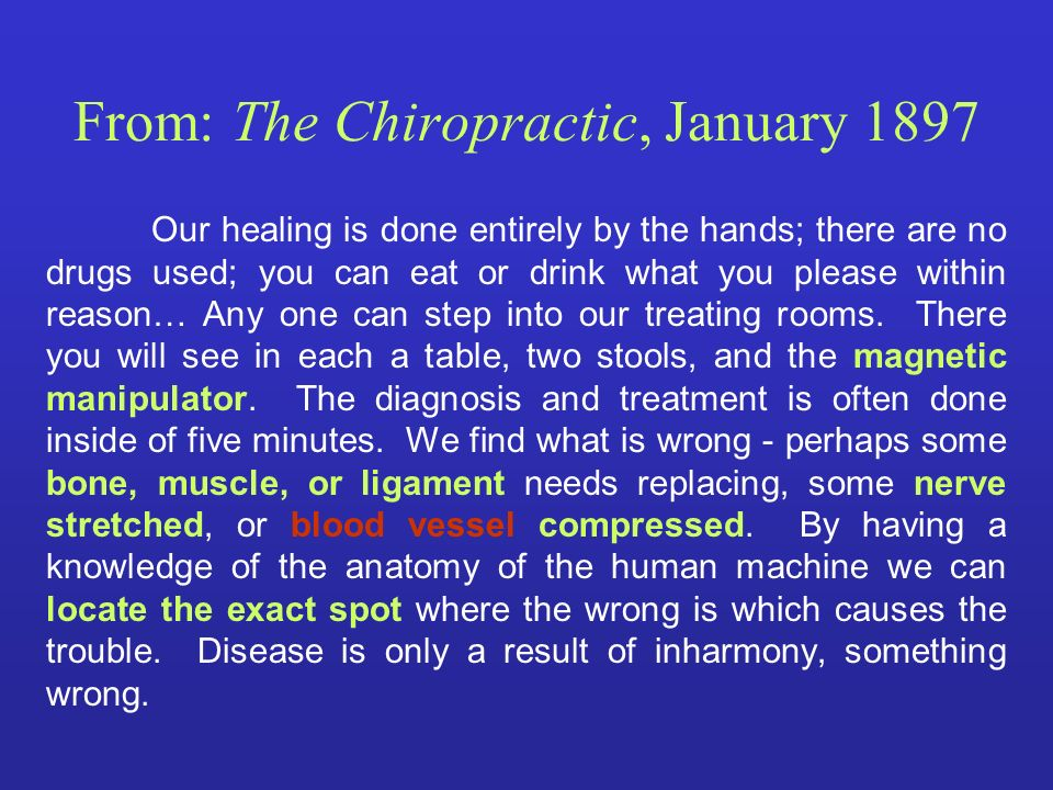 From: The Chiropractic, January 1897