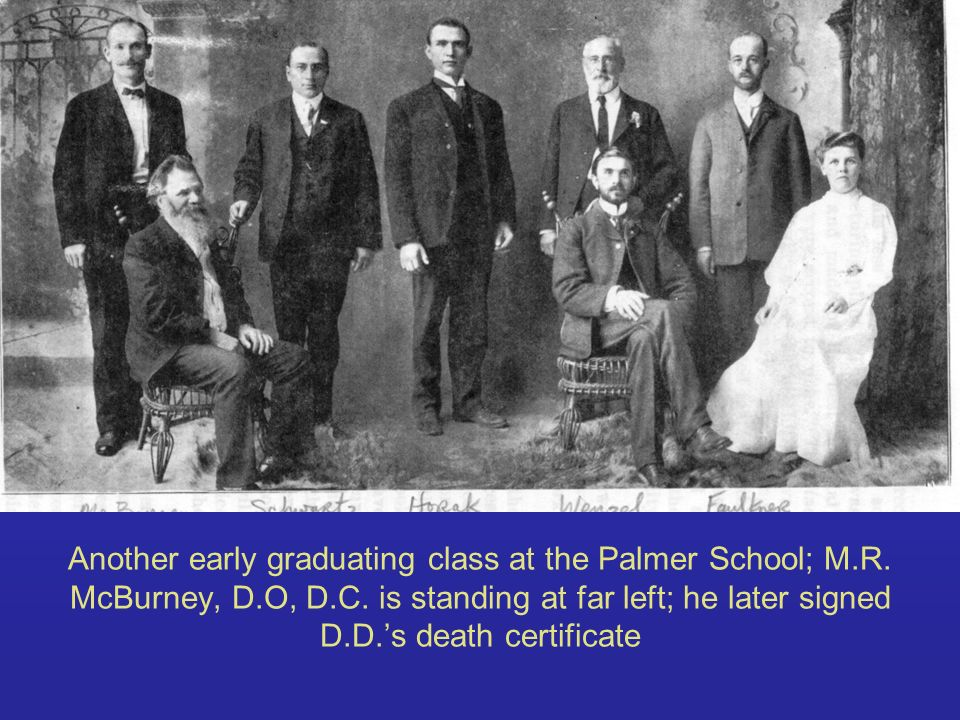 Another early graduating class at the Palmer School; M. R. McBurney, D