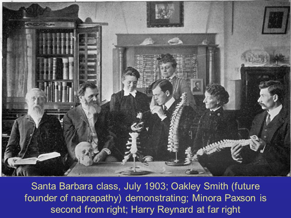 Santa Barbara class, July 1903; Oakley Smith (future founder of naprapathy) demonstrating; Minora Paxson is second from right; Harry Reynard at far right