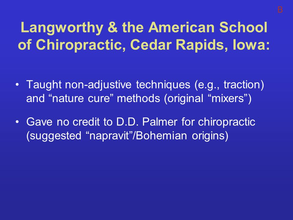 Langworthy & the American School of Chiropractic, Cedar Rapids, Iowa: