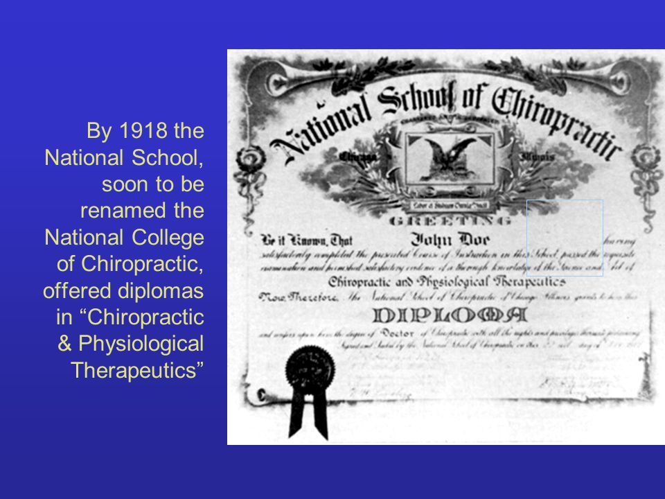 By 1918 the National School, soon to be renamed the National College of Chiropractic, offered diplomas in Chiropractic & Physiological Therapeutics