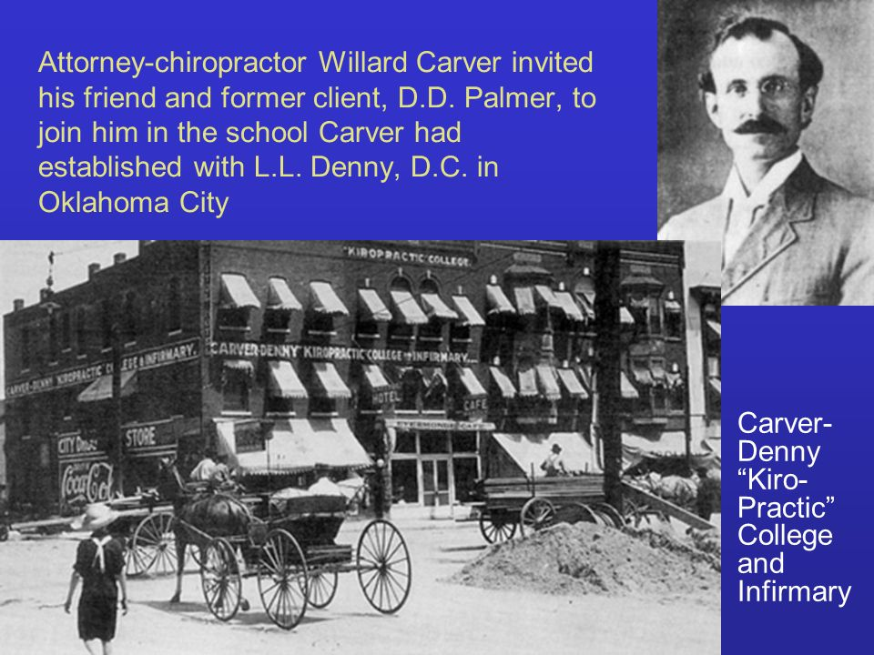 Attorney-chiropractor Willard Carver invited his friend and former client, D.D. Palmer, to join him in the school Carver had established with L.L. Denny, D.C. in Oklahoma City