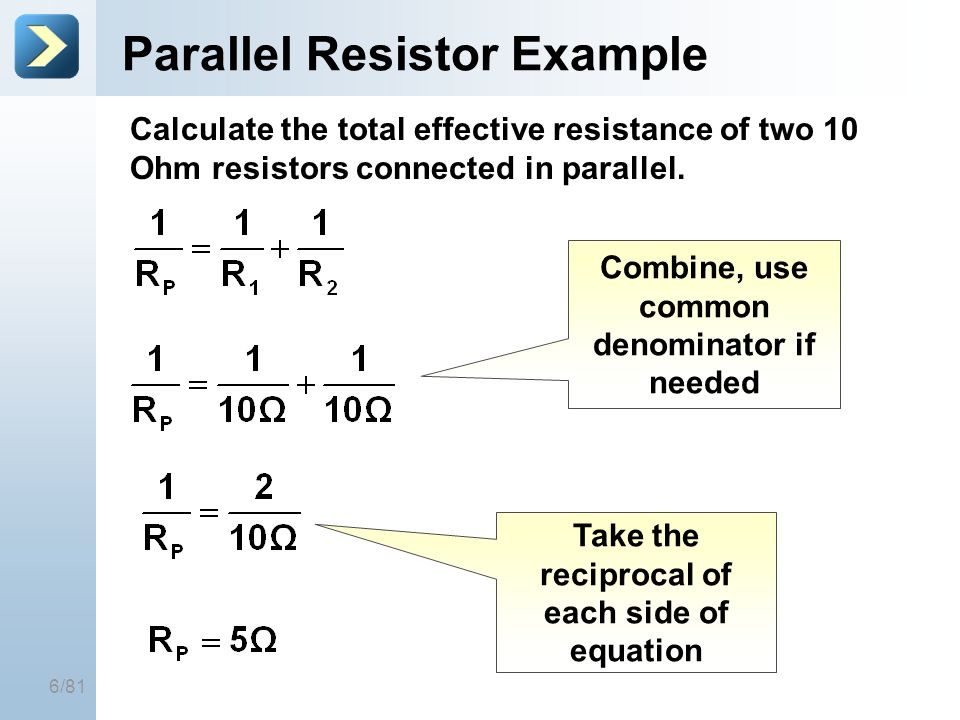 Parallel Resistor Example