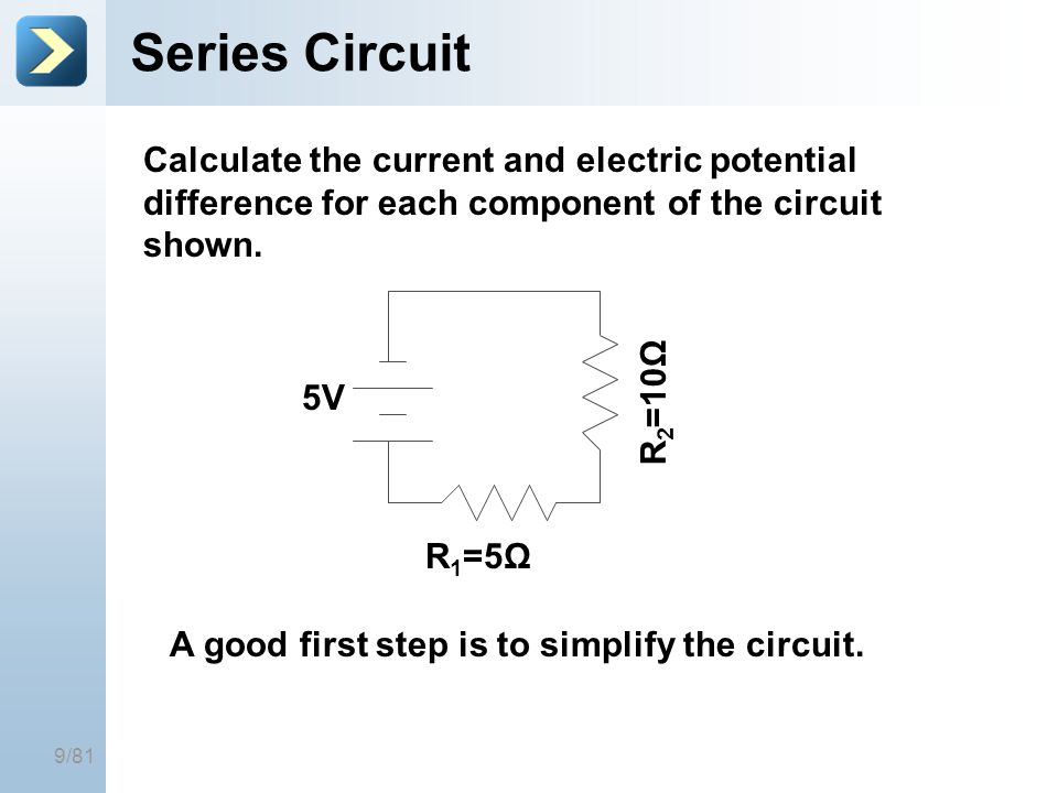 25-Mar-17 Series Circuit. [Title of the course] Calculate the current and electric potential difference for each component of the circuit shown.
