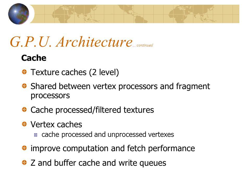 G.P.U. Architecture… continued