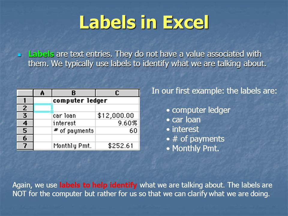 Labels in Excel