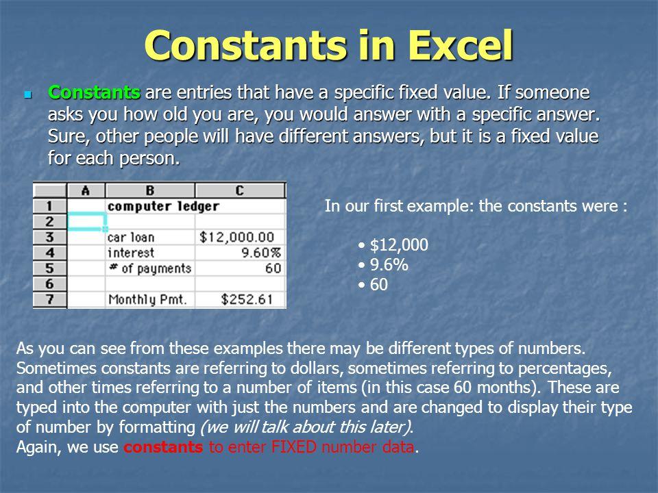Constants in Excel