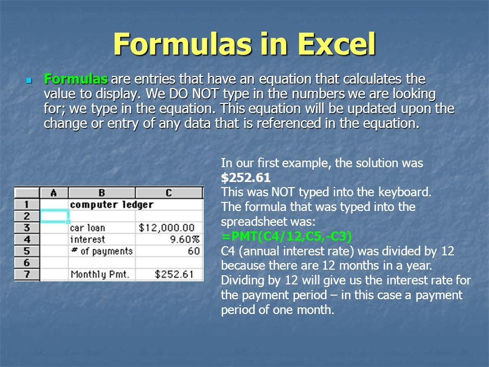 Formulas in Excel