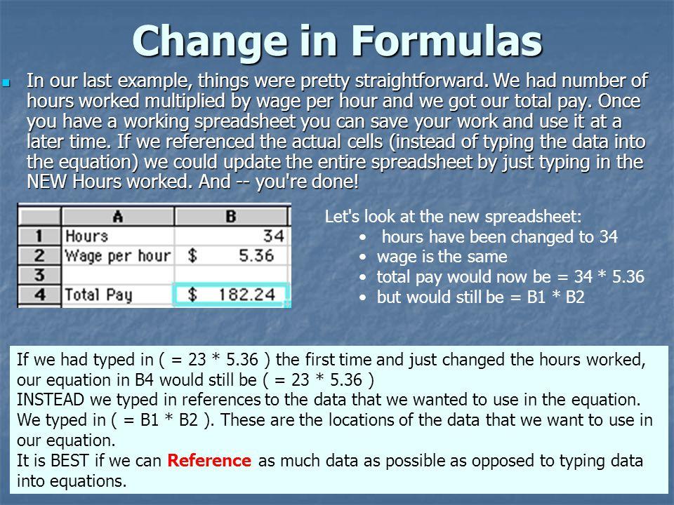 Change in Formulas