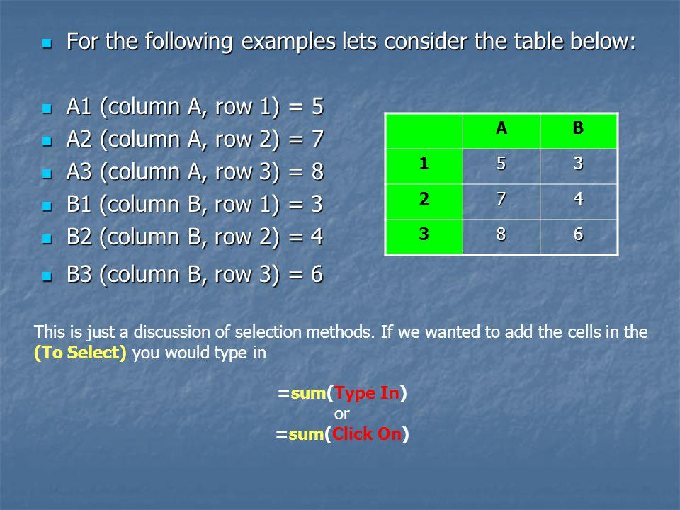 =sum(Type In) or =sum(Click On)