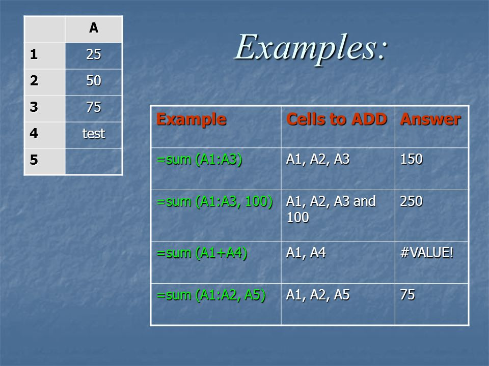 Examples: Example Cells to ADD Answer A 1 25 2 50 3 75 4 test 5