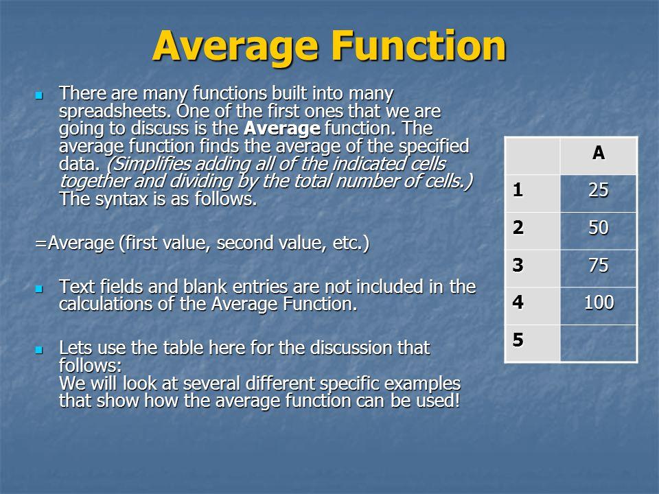 Average Function