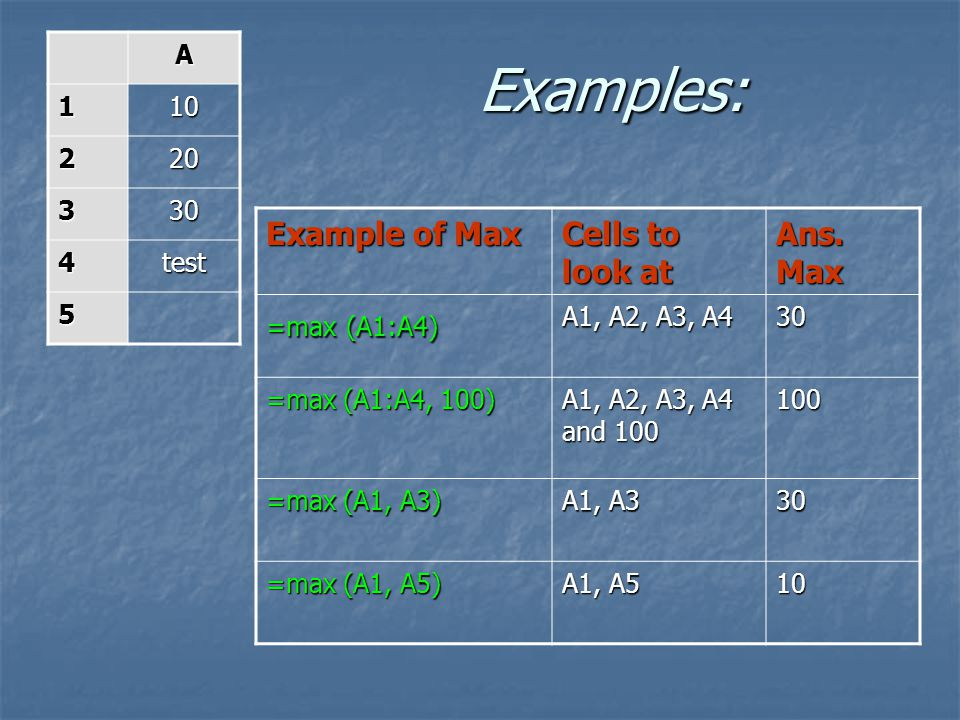 Examples: Example of Max Cells to look at Ans. Max A 1 10 2 20 3 30 4