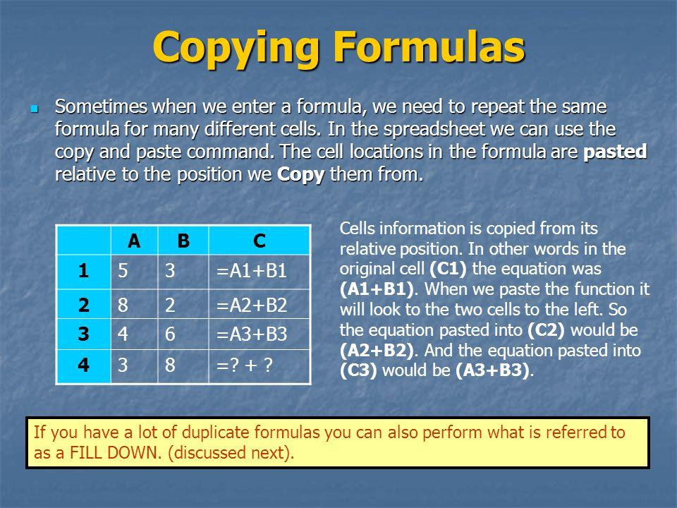 Copying Formulas