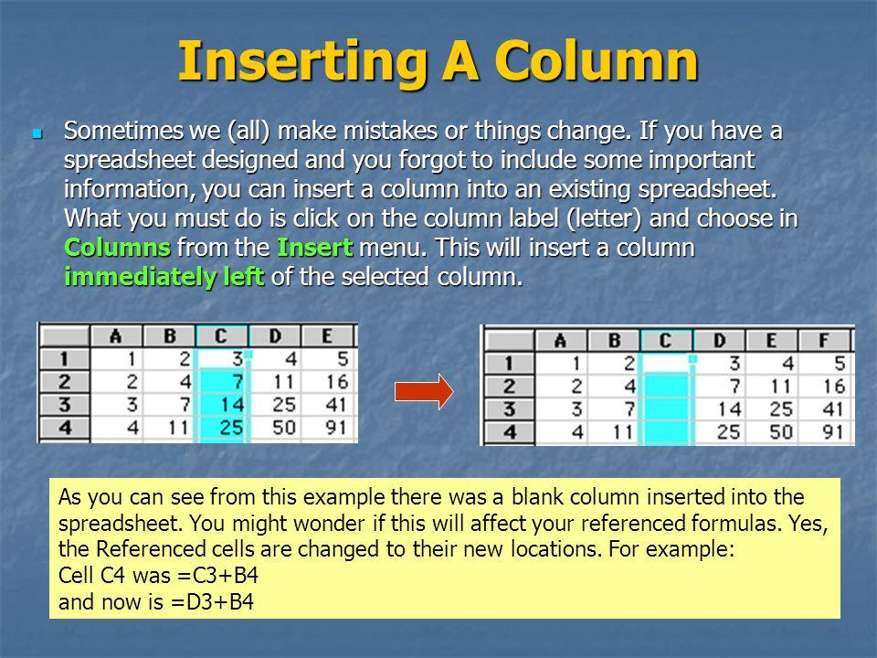 Inserting A Column