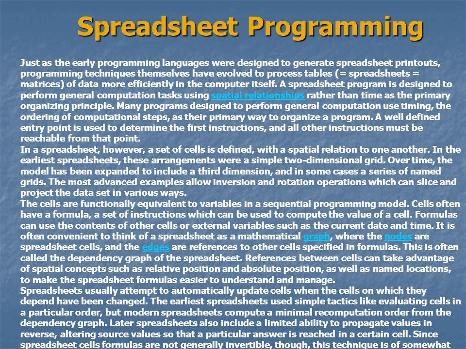 Spreadsheet Programming