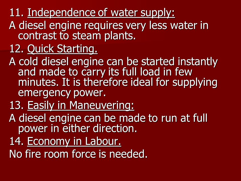 11. Independence of water supply: