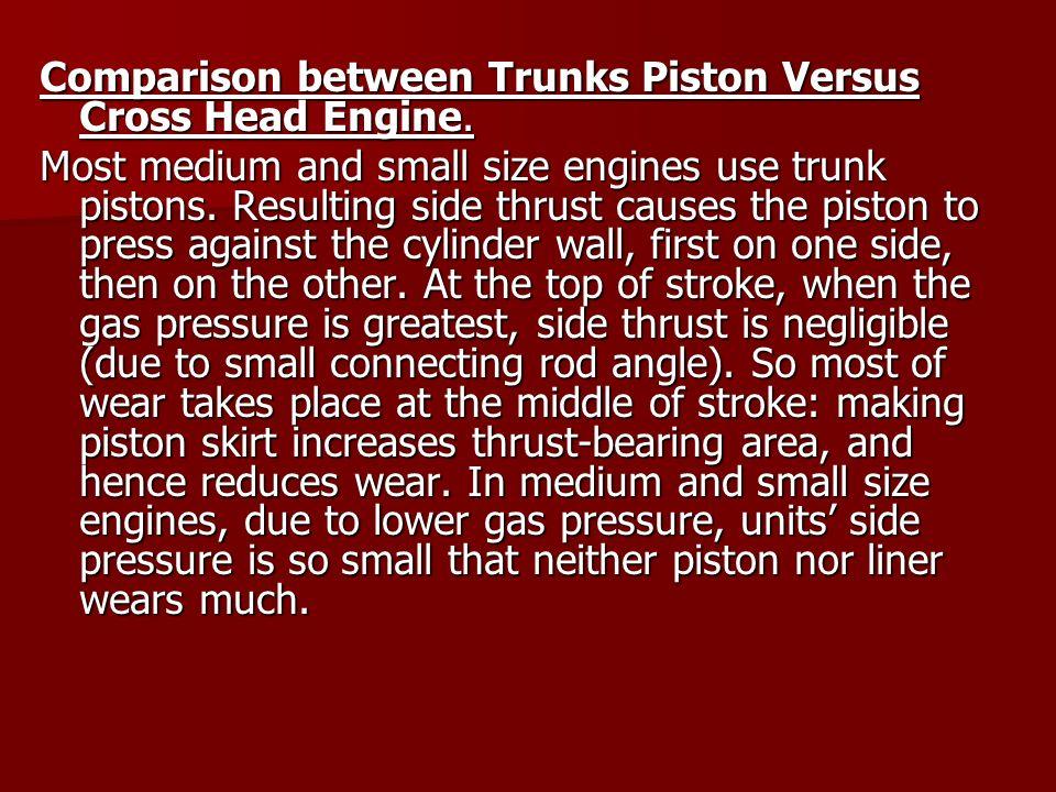 Comparison between Trunks Piston Versus Cross Head Engine.