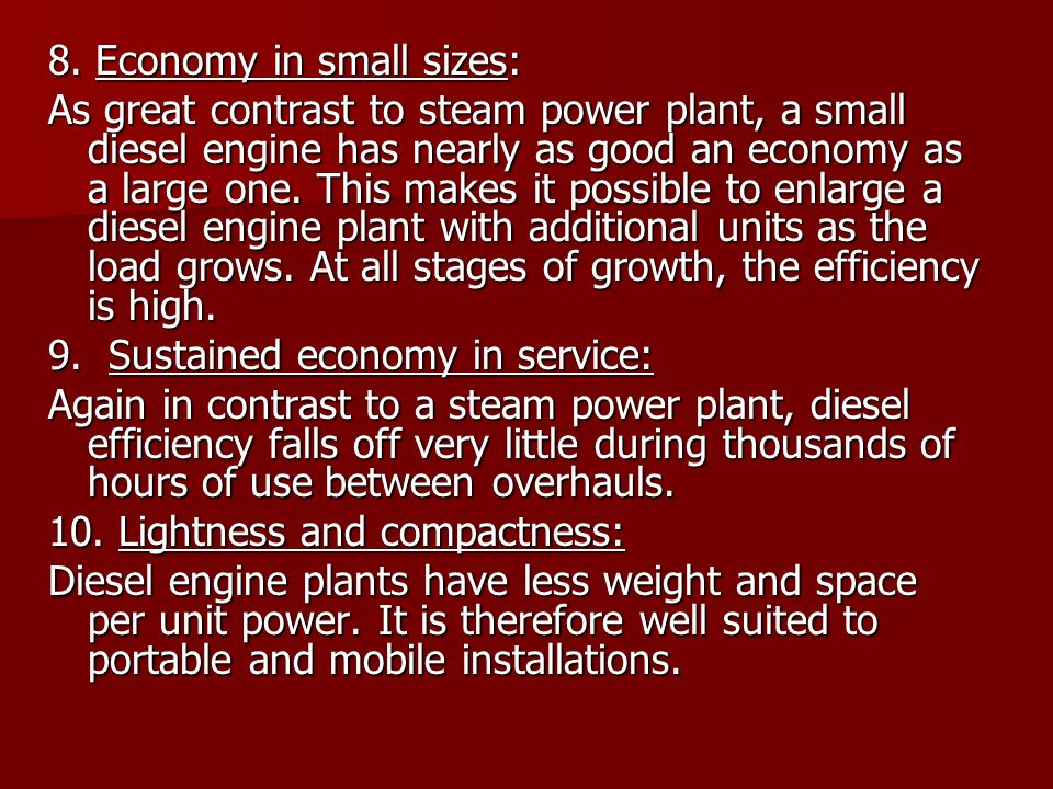 8. Economy in small sizes: