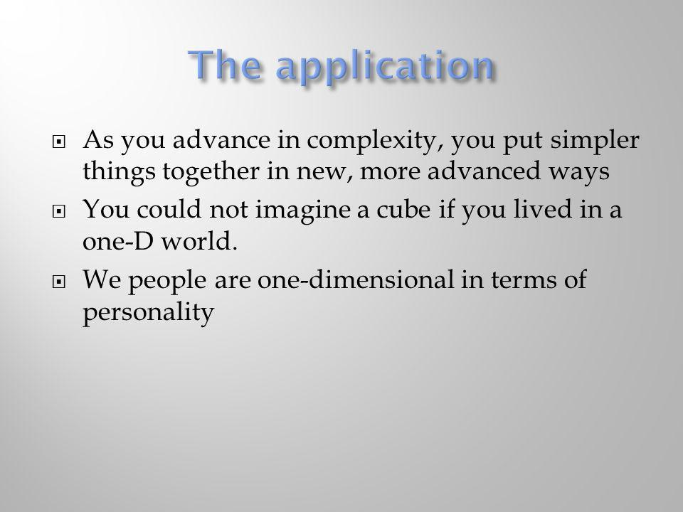 The application As you advance in complexity, you put simpler things together in new, more advanced ways.