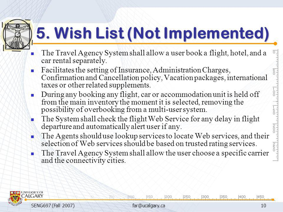 5. Wish List (Not Implemented)