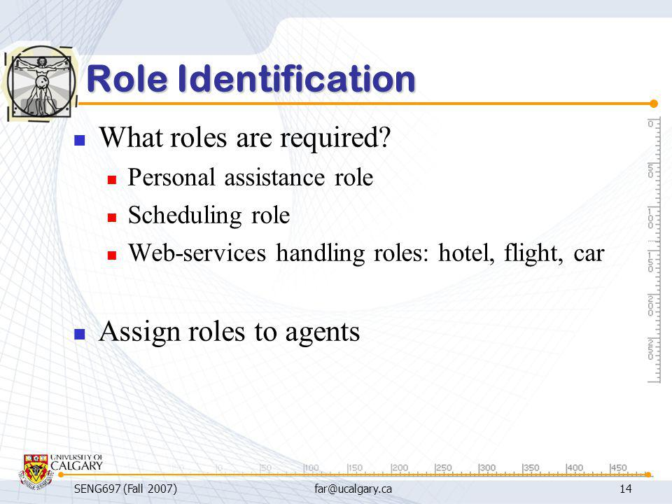 Role Identification What roles are required Assign roles to agents