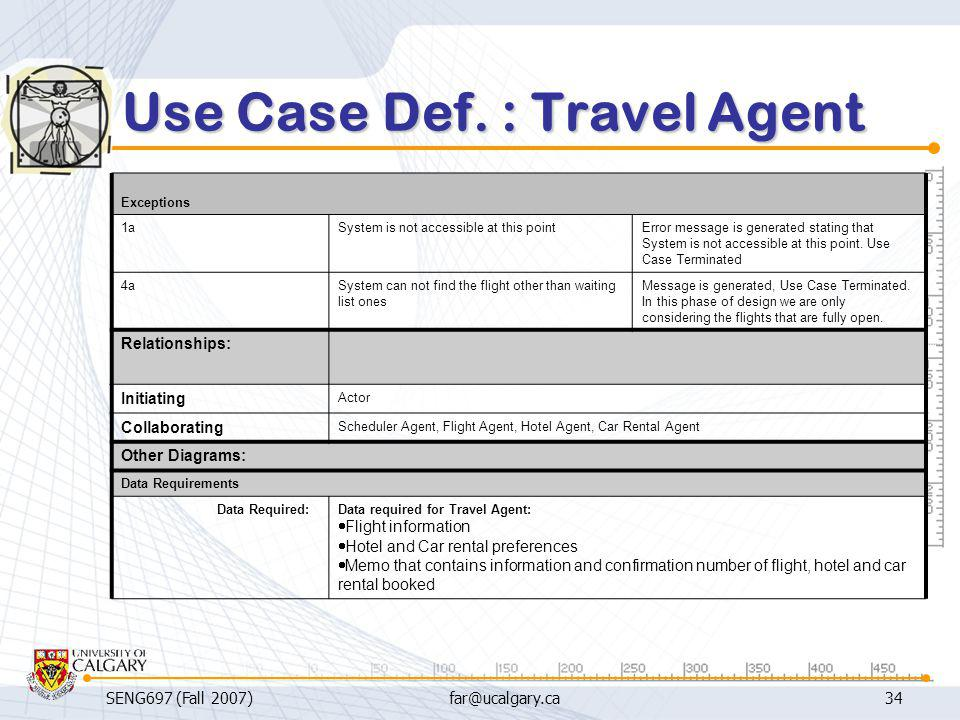 Use Case Def. : Travel Agent