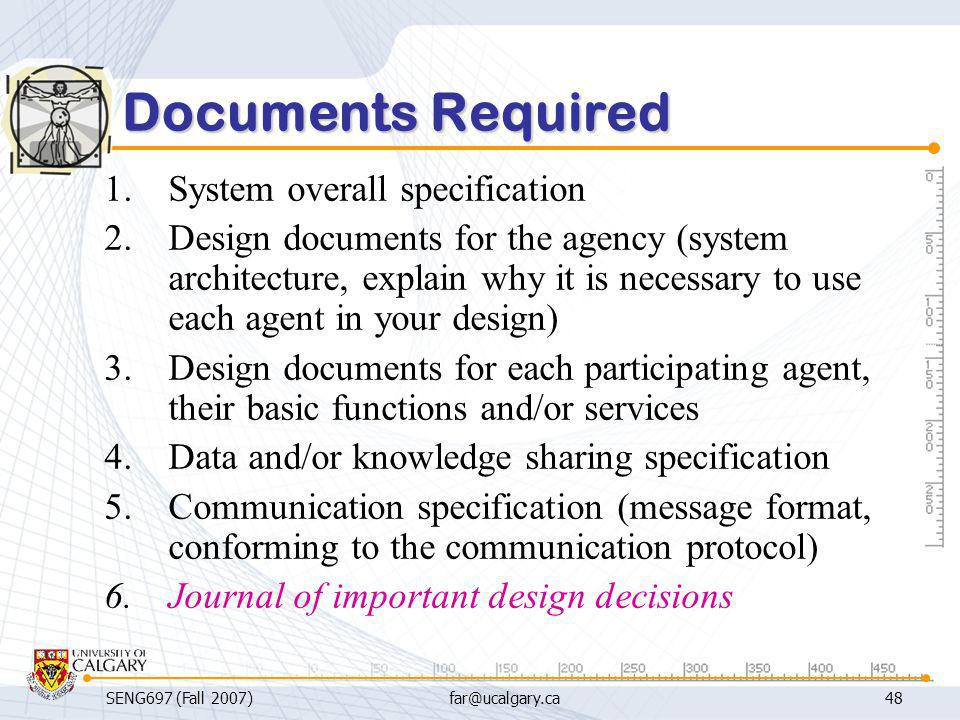 Documents Required System overall specification
