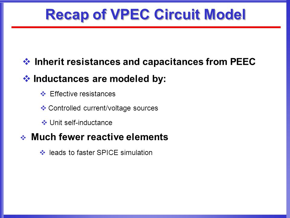Recap of VPEC Circuit Model